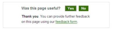 Website feedback panel